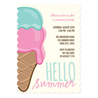 Pink Strawberry Mint Ice Cream Summer Party Invite Custom Announcement