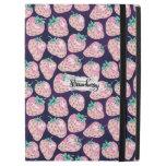 "Pink strawberry on purple background iPad pro 12.9"" case"