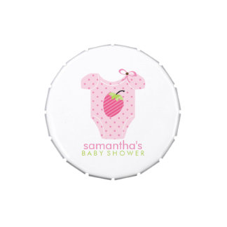 Pink Strawberry Outfit Girl Baby Shower Jelly Belly Candy Tin