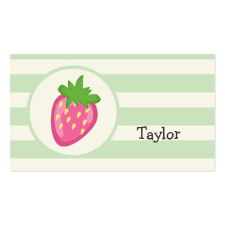 Pink Strawberry; Pastel Green Stripes Business Card