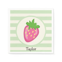 Pink Strawberry; Pastel Green Stripes Paper Napkin