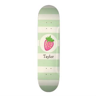 Pink Strawberry; Pastel Green Stripes Skate Deck