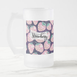 Pink Strawberry pattern on purple background Frosted Glass Beer Mug