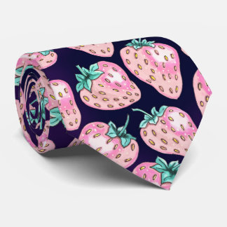 Pink Strawberry pattern on purple background Neck Tie