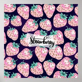 Pink Strawberry pattern on purple background Poster