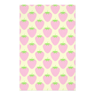 Pink Strawberry Pattern. Stationery Paper