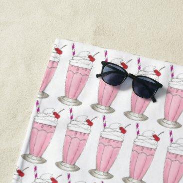Beach Themed Pink Strawberry Shake Ice Cream Milkshake Foodie Beach Towel