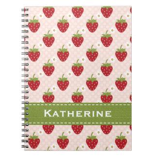 Pink Strawberry Spiral Notebook Journal