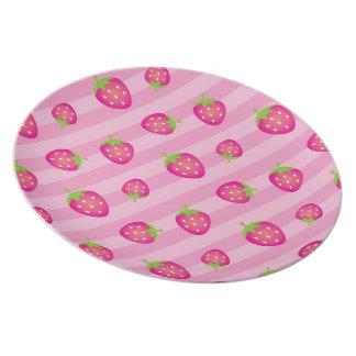 Pink Strawberry Stripe-Fruit Picnic #2 Melamine Plate
