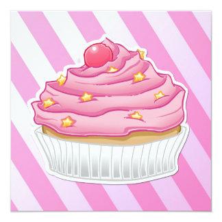 "Pink strawberry striped cupcake 5.25"" square invitation card"