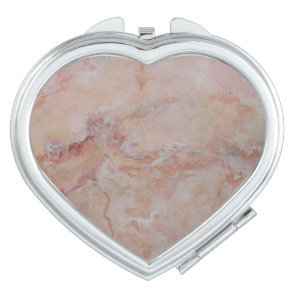 Pink striated marble stone finish compact mirror