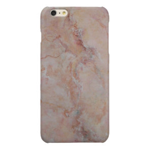 Pink striated marble stone finish glossy iPhone 6 plus case