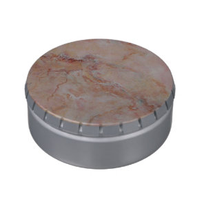 Pink striated marble stone finish jelly belly candy tin