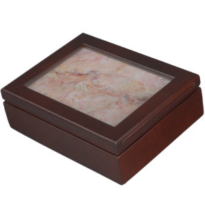 Pink striated marble stone finish keepsake box
