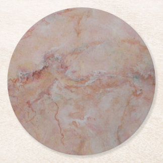 Pink striated marble stone finish round paper coaster