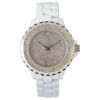 Pink striated marble stone finish watches