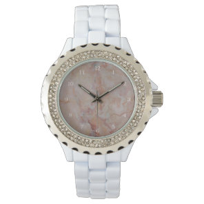 Pink striated marble stone finish wrist watch