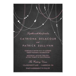 Pink String Lights Chalkboard Wedding Invitation