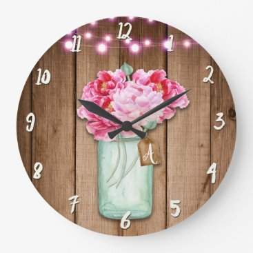 Wedding Themed Pink String Lights & Mason Jar Flowers Rustic Wood Large Clock