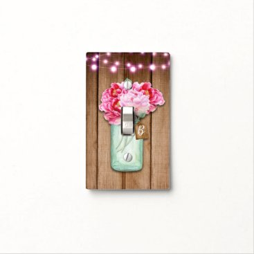 Wedding Themed Pink String Lights & Mason Jar Flowers Rustic Wood Light Switch Cover