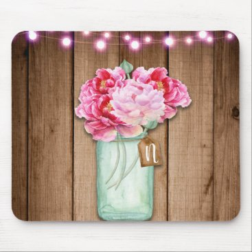 Wedding Themed Pink String Lights & Mason Jar Flowers Rustic Wood Mouse Pad