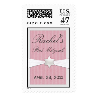 Pink stripe and pearl Bat Mitzvah Invitation Stamp