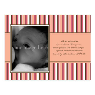 Pink Stripe Baby Announcement Postcard