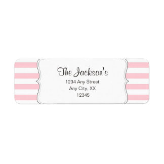 Pink stripe baby shower return address label