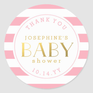 Pink Stripe Baby Shower Thank You Stickers