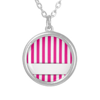 Pink stripe background round pendant necklace