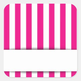 Pink stripe background square sticker