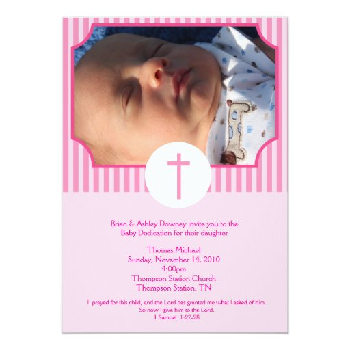 Pink Stripe Baptism Baby Dedication 5x7 photo Card