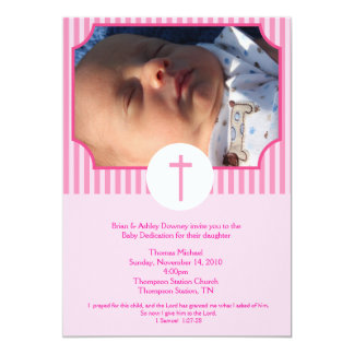 Pink Stripe Baptism Baby Dedication 5x7 photo 5x7 Paper Invitation Card