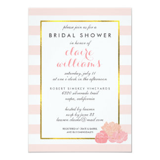 Pink Stripe & Blush Peony Bridal Shower Card