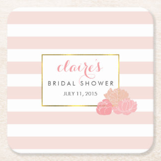 Pink Stripe & Blush Peony Bridal Shower Coasters