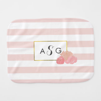 Pink Stripe & Blush Peony Monogram Burp Cloth
