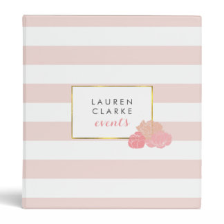 Pink Stripe & Blush Peony Personalized Binder