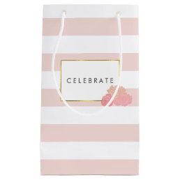 Pink Stripe & Blush Peony Personalized Gift Bag