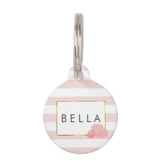 Pink Stripe & Blush Peony Personalized Pet Tag