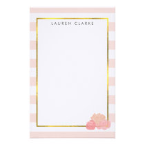 Pink Stripe & Blush Peony Personalized Stationery