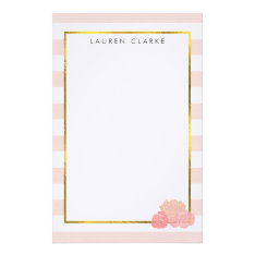 Pink Stripe & Blush Peony Personalized Stationery at Zazzle
