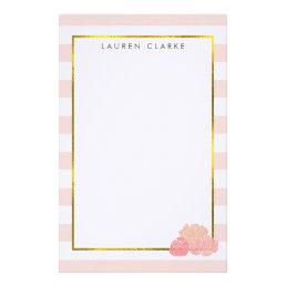 Pink Stripe & Blush Peony Personalized Stationery