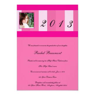 Pink Stripe Border Photo Graduation Announcement
