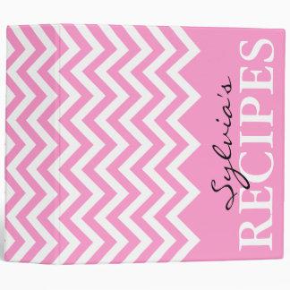 Pink stripe chevron pattern recipe binder book