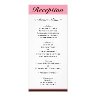 Pink Stripe Chocolate Brown Reception Menu