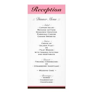 Pink Stripe Chocolate Brown Reception Menu Personalized Rack Card