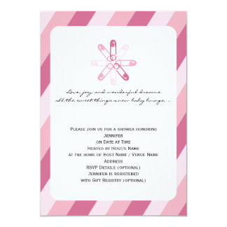 Pink Stripe Diaper Pin Baby Girl Shower Card