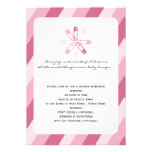 Pink Stripe Diaper Pin Baby Girl Shower Announcements