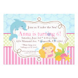 Pink Stripe, Dolphin, Girl Mermaid Birthday Party Personalized Announcement