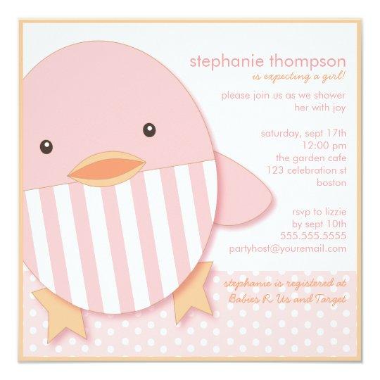 Pink Stripe Ducky Baby Girl Shower Invitation